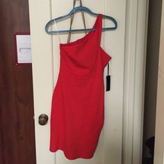 Red one shoulder dress from LuLu!! Right red dress size small. Off the shoulder Lulu's Dresses One Shoulder
