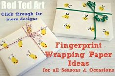 Cute Idea for making your own wrapping paper using fingerprint designs!!! Bebe'!!! Just so cute!!!