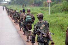 Democratic Republic of Congo soldiers march on December 31 2013.