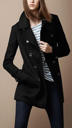 Military coat in textured woven wool