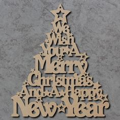 Merry Christmas Tree Sign - Wooden Laser Cut mdf Craft Shapes   eBay