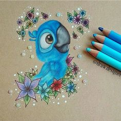 Blu from the Rio film .-Blu aus dem Rio-Film – Art – Blu from the Rio film – type – - Blue Drawings, Cool Art Drawings, Pencil Art Drawings, Colorful Drawings, Art Drawings Sketches, Animal Drawings, Easy Drawings, Drawing Art, Drawing Ideas