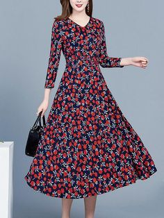 Women's Fashion Casual V-neck Floral Print Dress – wanokitty Skater Style Dress, Skater Dresses, Korean Fashion, Women's Fashion, Spring Skirts, Collar Dress, Types Of Sleeves, Sleeve Styles, Floral Prints