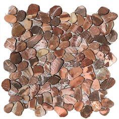 Sliced Flat Cut Pebble Stone Mosaic - Canyon Red Interlocking Cut Stone Pebble Mosaic