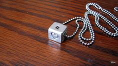 Stamped Pewter Cube Necklace Personalized by BellaDonnaJewelryCo
