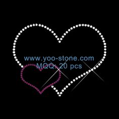 Beautiful Double Hearts Rhinestone Transfer Design