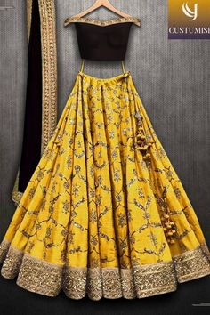 Beautiful Designer Yellow Color Lehenga with Maroon Blouse Party Wear Lehenga Choli-Bridal Lehenga Choli - Designer Dresses Couture Party Wear Lehenga, Bridal Lehenga Choli, Indian Lehenga, Ghagra Choli, Party Wear Dresses, Party Outfits, Chaniya Choli For Navratri, Wedding Chaniya Choli, Indian Saris