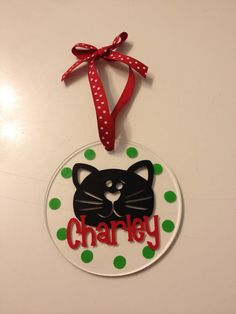 """Personalized Cat Christmas Ornament - 4"""" round clear acrylic, with name, Any colors, Any pet, Cat, Dog, other animal, pet"""