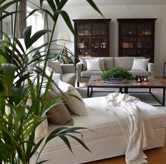 Borde + hvide sofaer