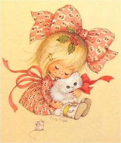 sweet vintage christmas girl with kitten (and christmas mouse too!) - suzy angel