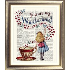 ART PRINT ANTIQUE BOOK PAGE Alice in Wonderland ALICE HEARTS TEACUP DICTIONARY | eBay