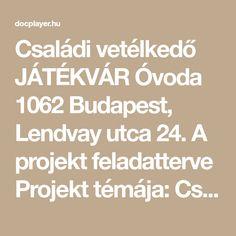Családi vetélkedő JÁTÉKVÁR Óvoda 1062 Budapest, Lendvay utca 24. A projekt feladatterve Projekt témája: Családi vetélkedő Időkeret: 3 óra Projektfelelős: 1 pedagógus sorszám feladat felelős Teljesítés Utca, Budapest, Math Equations, Free