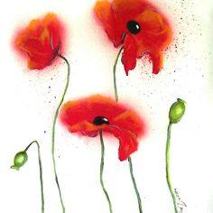 Abstract Red Poppies by Cherie Roe Dirksen (prints available) #poppyprint #poppy