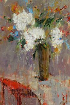 Susie Pryor - Hydrangea on a Red Table