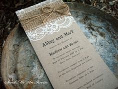 Wedding Invitation Rustic Lace and Hessian with Jute String on Recycled Kraft Card - SAMPLE on Etsy, $5.00 AUD