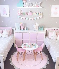 New kids room rug children 47 ideas Twin Girl Bedrooms, Twin Girls, Shared Bedrooms, Pink Girls Bedrooms, Shared Girls Rooms, Kids Room For Girls, Light Pink Girls Bedroom, Simple Girls Bedroom, Pastel Girls Room