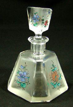 ART DECO BOHEMIAN CRYSTAL GLASS PERFUME BOTTLE ~FLOWERS