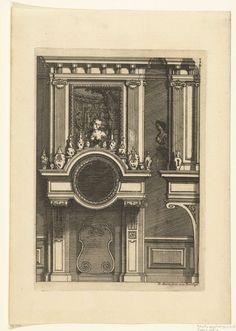 Daniël Marot (I) | Onderboezem, Daniël Marot (I), after 1703 - before 1800 | De schoorsteenboezem bestaat uit twee lange consoles met daarboven een spiegel en een schilderij. Op de gedeeltelijk gebogen kroonlijst staan Chinese vazen. Uit serie van 6 bladen.