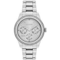 Citizen Citizen Eco-Drive Silver Dial Stone Set Stainless Steel... ($345) ❤ liked on Polyvore featuring jewelry and watches