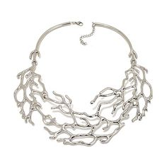 "Stately Steel Leaf Design 15"" Collar Necklace, this has 2 inch extender, love the look, I bet this will take a LBD or a white tee to a new level. $39.95 at HSN"