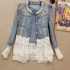 Женщины джинсы куртка пальто милый кружево пэчворк женщины куртка джинсы вышивка бисером пальто женщины свободного покроя осень куртка casaco feminino купить на AliExpress