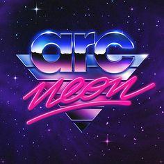 Arc Neon #retrofuturistic #logo by Overglow   Retro futuristic cover art