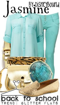 Disney Bound: Jasmine 'street' costume. Great blog with disney themed outfits.