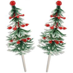 Ornament Holiday Tree Picks - Layer Cake Shop- $3.00 per dozen.  This store has all kinds of vintage inspired cake decorations.