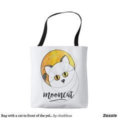 Bag with has cat in face off the yellow moon - cat cats kitten kitty pet love pussy Yellow Moon, Yellow Cat, Cat Hug, Face Off, Cool Cats, Cats And Kittens, Reusable Tote Bags, Kitty, Pets