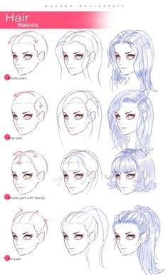 Manga Drawing Techniques How To Draw Hair (Step By Step Image Guides) - Let's learn how to draw hair step by step image guides . You not only need to concentrate on the details but also work at adding depth to the drawing. Drawing Techniques, Drawing Tips, Drawing Reference, Drawing Sketches, Cool Drawings, Drawing Ideas, Hair Styles Drawing, Drawing Stuff, Drawing Hair Tutorial