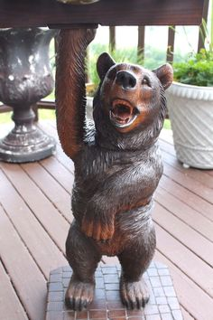 ANTIQUE HAND-CARVED BLACK FOREST HUMIDOR SMOKING STAND  4  BEARS   (1 DANCING)   #SmokingStand