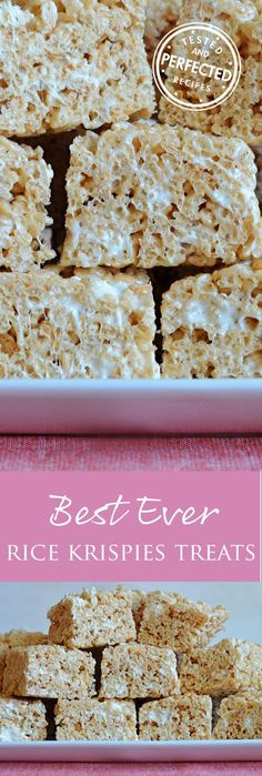 Made with brown butter, vanilla, salt, and the perfect amount of marshmallows, these are the BEST Ever Rice Krispie Treats. Thoroughly kid approved Krispies Treats A few tweaks to the back-of-the-box recipe make these Rice Krispie Treats the best ever. Carré Rice Krispies, Reis Krispies, Gluten Free Rice Krispies, Rice Krispie Bars, Oreo Dessert, Dessert Bars, Just Desserts, Delicious Desserts, Dessert Recipes