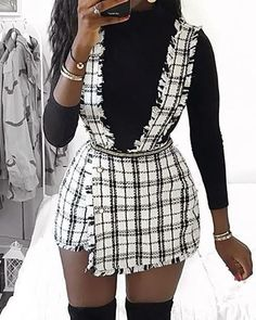 Rove Grid Buttoned Design Suspender Dress Women's Best Online Shopping - Offering Huge Discounts on Dresses, Lingerie , Jumpsuits , Swimwear, Tops and More. Trend Fashion, Estilo Fashion, Ideias Fashion, Dress Outfits, Casual Dresses, Fashion Dresses, Women's Casual, Slit Dress, The Dress