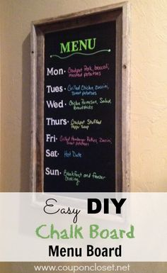 DIY Chalk board menu board