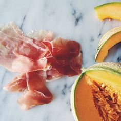 So happy when I actually get a really, really good, sweet melon, there's nothing to do but add some prosciutto di Parma to it and call it lunch. By the way, 24 hours left to go in the running to win a copy of the gorgeous @shortstackeds book Prosciutto di Parma with recipes by @sarajenkins - winner announced tomorrow, details on my blog (link in profile)! #giveaway #prosciutto #shortstackeds