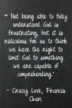 Crazy love - yes.  I'd like to add, if we could truly comprehend God he wouldn't be worthy of our devotion.