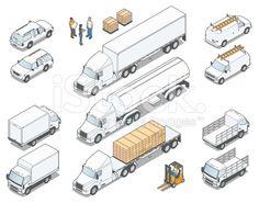 Isometric Trucks royalty-free stock vector art