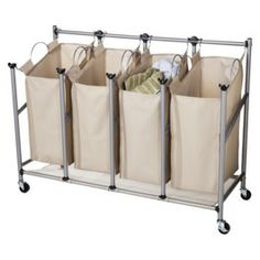 Threshold Brown Linen Quad Front Load Laundry Sorter , $50 Target