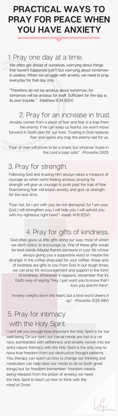 Five prayers to pray for when you're struggling with anxiety. What does God say about anxiety anyway? Should Christians be anxious? Read more or PIN for later at http://LeahGrey.com #PanicAttackPrayer