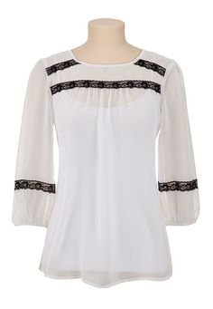 3/4 Sleeve Chiffon Top with Lace available at #Maurices