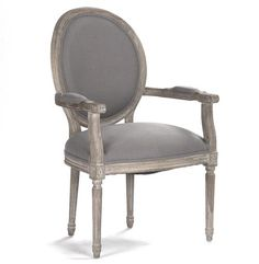 There's something wonderfully decadent about an armchair at the table – it allows you to sit back and savor your cabernet before diving into your steak tartar. This French country seat is no exception – the grey linen upholstery and bleached limed oak frame combine to produce a comfortable, gracious perch.