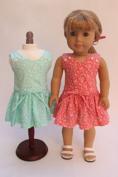 18 inch doll clothes - Dress for spring. Coral or mint pretty floral dress