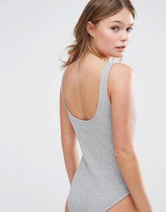 ASOS grey bodysuit with open back