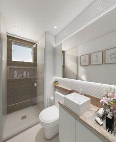 Banheiro clean e moderno. Mármore travertino, revestimento 3D, porcelanato amadeirado são alguns dos pontos chaves para esse banheiro charmoso. #banheiro #suíte #banheiropequeno #nichobanheiro #revestimento3D #porcelanatoamadeirado Bathroom Design Luxury, Bathroom Interior, Dressing Table Decor, Interior Exterior, Interior Design, Bathroom Styling, Downlights, Small Bathroom, 3 D