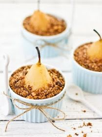 Sips and Spoonfuls: Poached Pear Crumble With Chocolate, Coffee and Nuts and Some News