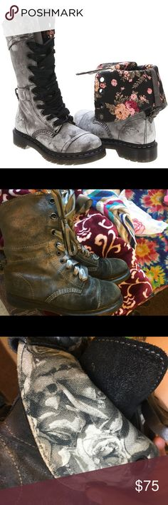 Suede Dr. Martens with Robbin laces Grey metallic suede ribbon lace up boots. Black and white floral inside, boots can be worn tall or rolled down. Dr. Martens Shoes Lace Up Boots