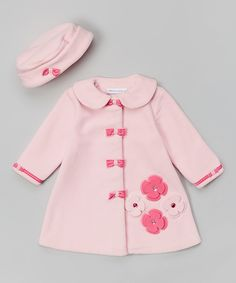 Look at this Light & Dark Pink Bow Hat & Coat - Infant, Toddler & Girls on #zulily today!