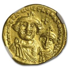 Smart Gold Byzantine Solidus Of Heraclius Showing Three Emperors Coins & Paper Money Online Discount