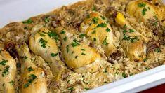 Μπουτάκια κοτόπουλου με ρύζι και μανιτάρια