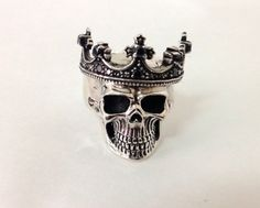 Sterling Silver 925 Crown Skull Ring by BlackSnowCustom on Etsy